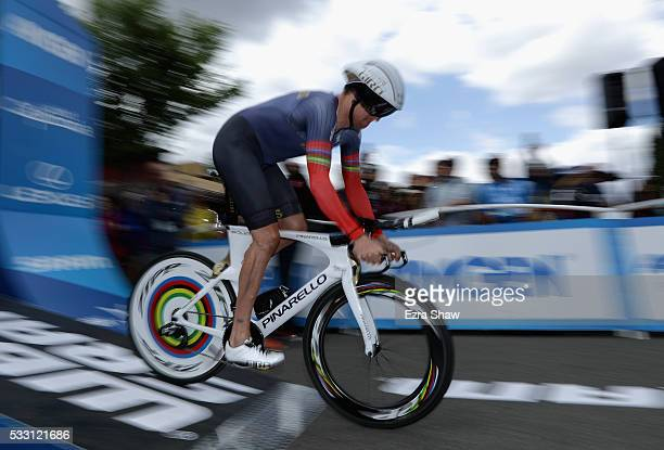 Bradley Wiggins of Great Britain riding for Team Wiggins starts the individual time trial during Stage 6 of the Amgen Tour of California on May 20...