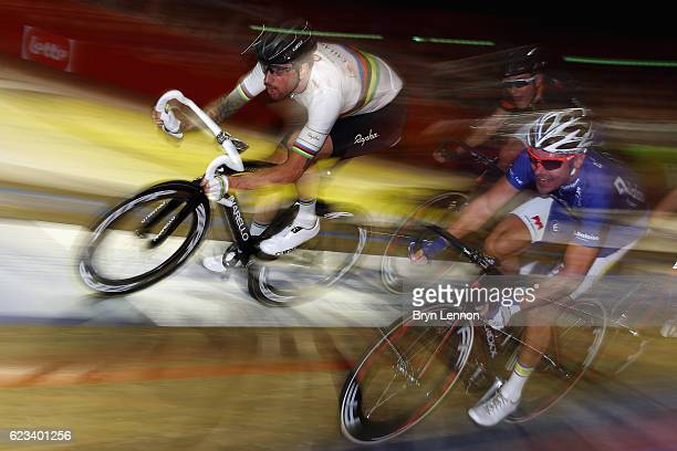 Bradley Wiggins of Great Britain sprints for the finishline in his first race of the opening evening of the Ghent six day race at 't Kuipke Gent on...