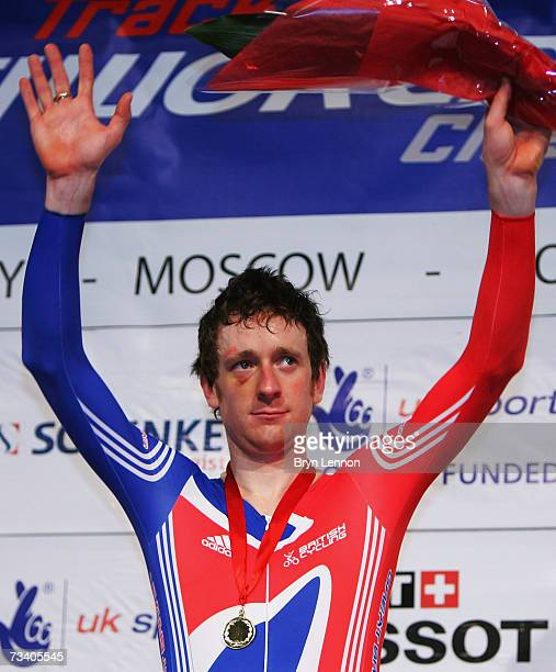 Bradley Wiggins of Great Britain waves to the crowd after winning the Men's Indiviual Pursuit at the UCI Track Cycling World Cup Classic at the...
