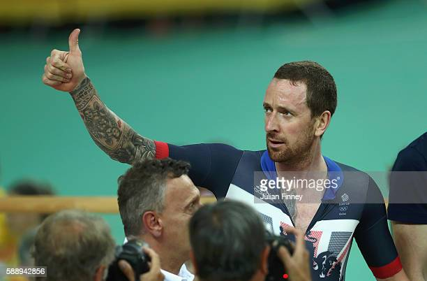 Bradley Wiggins of Team Great Britain celebrates winning the gold medal after the Men's Team Pursuit Final for Gold on Day 7 of the Rio 2016 Olympic...