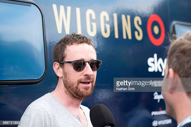 Bradley Wiggins of Team Wiggins before stage three of the 2016 Tour of Britain from Congleton to Tatton Park Knutsford on September 6 2016 in...