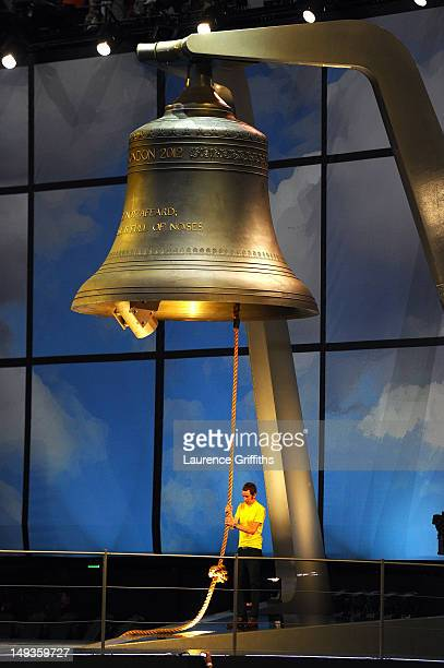 Bradley Wiggins the first British winner of the Tour De France cycle race rings the largest harmonically tuned bell in the world to signal the start...