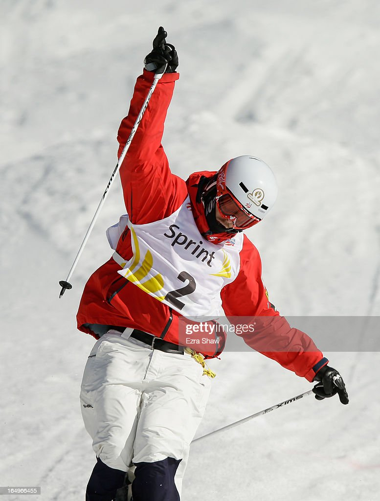 Bradley Wilson celebrates after he crossed the finish line in the Men's Moguls final at the U.S. Freestyle Moguls National Championship at Heavenly Resort on March 29, 2013 in South Lake Tahoe, California. Wilson won the event.