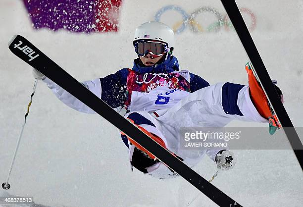 US Bradley Wilson competes in the Men's Freestyle Skiing Moguls qualifications at the Rosa Khutor Extreme Park during the Sochi Winter Olympics on...