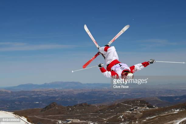 Bradley Wilson of the United States makes a training jump prior to the Men's Moguls qualification on day one of the FIS Freestyle Ski Snowboard World...