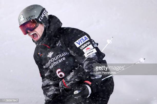 Bradley Wilson of the United States reacts after crossing the finish line against Mikael Kingsbury of Canada in the Big Final of the Men's Dual...