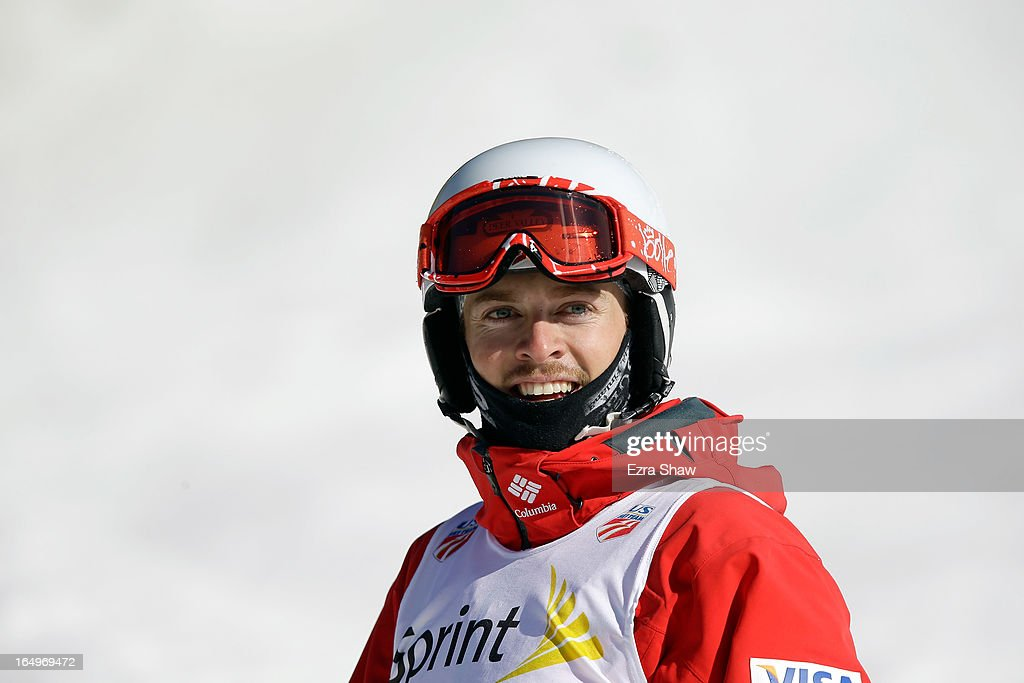 Bradley Wilson stands at the finish line after competing in the Men's Moguls final at the U.S. Freestyle Moguls National Championship at Heavenly Resort on March 29, 2013 in South Lake Tahoe, California. Wilson won the event.