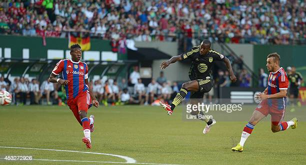 Bradley Wright Phillips of MLS All-Stars scores his teams first goal during the MLS All-Star game between the MLS All-Stars and FC Bayern Muenchen at...