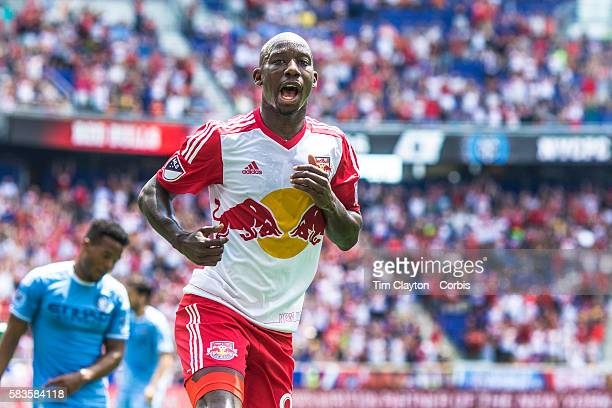 Bradley Wright-Phillips of New York Red Bulls celebrates after scoring his sides first goal during the New York Red Bulls Vs New York City FC MLS...