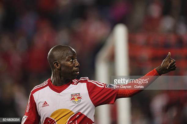 Bradley Wright-Phillips of New York Red Bulls celebrates with supporters after scoring his first goal of the night during the New York Red Bulls Vs...