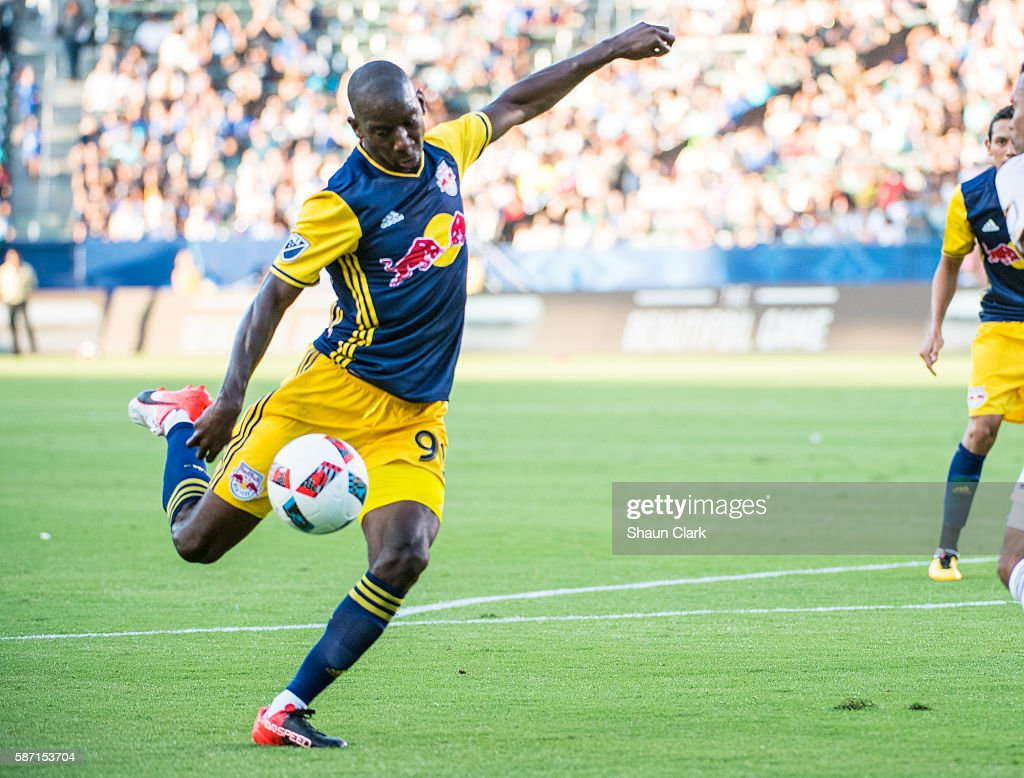 Bradley Wright-Phillips #99 of New York Red Bulls takes a shot during Los Angeles Galaxy's MLS match against the New York Red Bulls at the StubHub Center on August 7, 2016 in Carson, California. The match ended 2-2