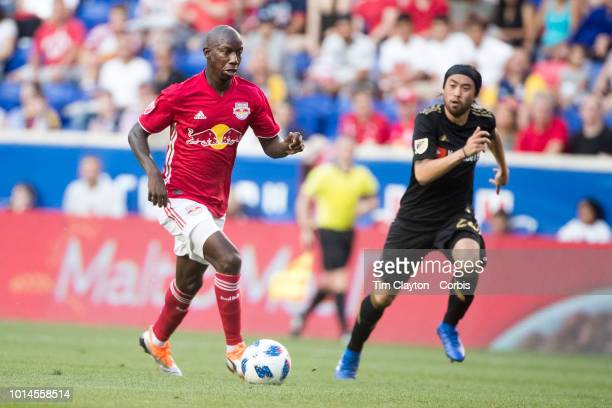 Bradley WrightPhillips of New York Red Bulls watched by Lee Nguyen of Los Angeles FC during the New York Red Bulls Vs Los Angeles FC MLS regular...