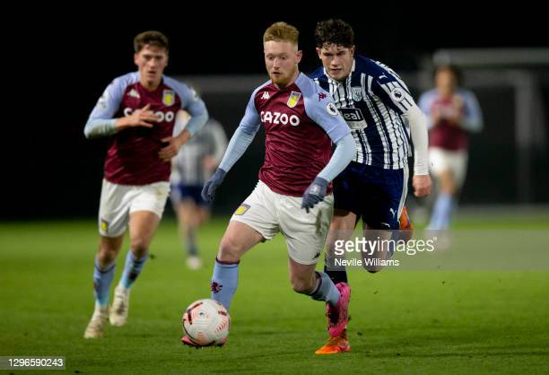 Bradley Young of Aston Villa in action during the Premier League 2 between Aston Villa and West Bromwich Albion at Bodymoor Heath training ground on...