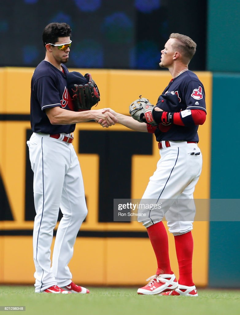 Bradley Zimmer #4 and Brandon Guyer #6 of the Cleveland Indians celebrate an 8-1 victory over the Toronto Blue Jays at Progressive Field on July 23, 2017 in Cleveland, Ohio.