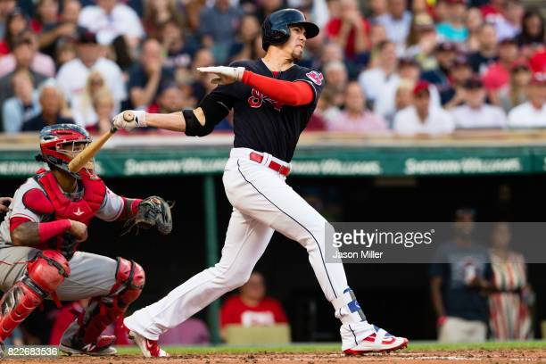 Bradley Zimmer of the Cleveland Indians hits a grand slam home run during the second inning against the Los Angeles Angels of Anaheim at Progressive...