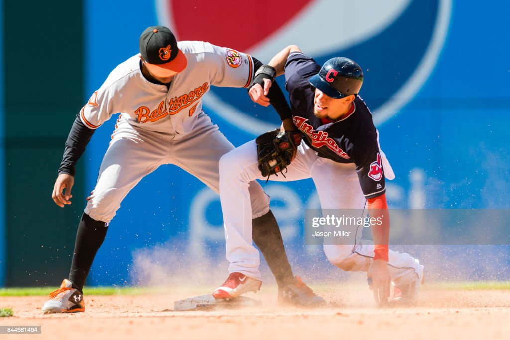 Bradley Zimmer #4 of the Cleveland Indians is safe at second on a stolen base as second baseman Jonathan Schoop #6 of the Baltimore Orioles tries to make the tag during the sixth inning at Progressive Field on September 9, 2017 in Cleveland, Ohio.