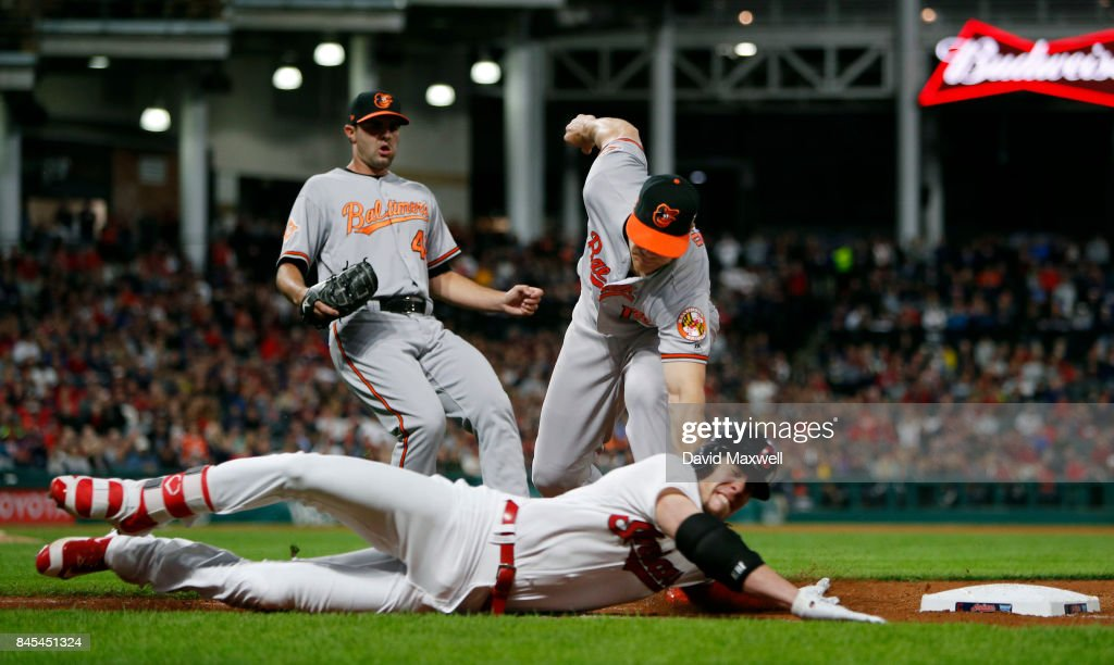 Bradley Zimmer #4 of the Cleveland Indians is tagged out sliding into first base by Chris Davis #19 of the Baltimore Orioles as Orioles pitcher Richard Bleier #48 trails the play in the seventh inning at Progressive Field on September 10, 2017 in Cleveland, Ohio. Zimmer was injured on the play and left the game. The Indians defeated the Orioles 3-2, and their win streak now stands at 18.