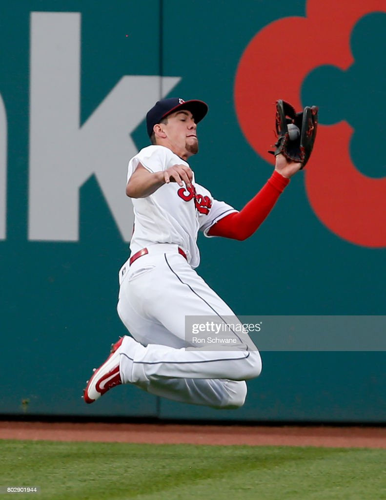 Bradley Zimmer #4 of the Cleveland Indians makes a sliding catch to get out Shin-Soo Choo #17 of the Texas Rangers during the fourth inning at Progressive Field on June 28, 2017 in Cleveland, Ohio.