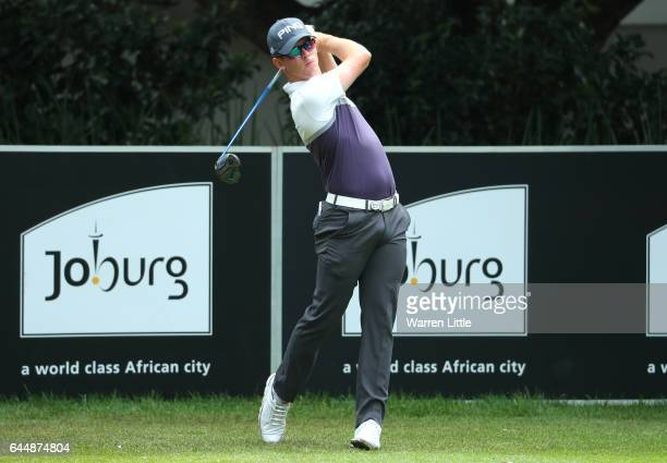 Bradon Stone of South Africa tees off on the 1st during the second round of the Joburg Open at Royal Johannesburg and Kensington Golf Club on...
