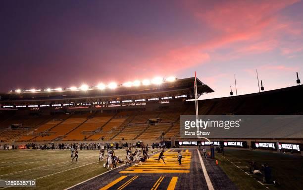 Bradrick Shaw of the California Golden Bears runs in for a touchdown against the Oregon Ducks at California Memorial Stadium on December 05, 2020 in...