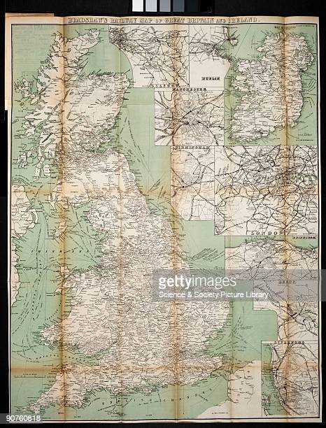 Bradshaw map showing the passenger and freight railway networks at the beginning of the 20th century English cartographer printer and publisher...