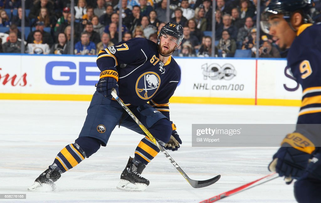 Brady Austin #67 of the Buffalo Sabres skates during an NHL game against the Pittsburgh Penguins at the KeyBank Center on March 21, 2017 in Buffalo, New York. Pittsburgh won, 3-1.