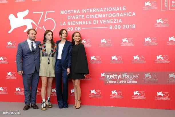 Brady Corbet Raffey Cassidy Stacy Martin and Natalie Portman attends 'Vox Lux' photocall during the 75th Venice Film Festival at Sala Casino on...