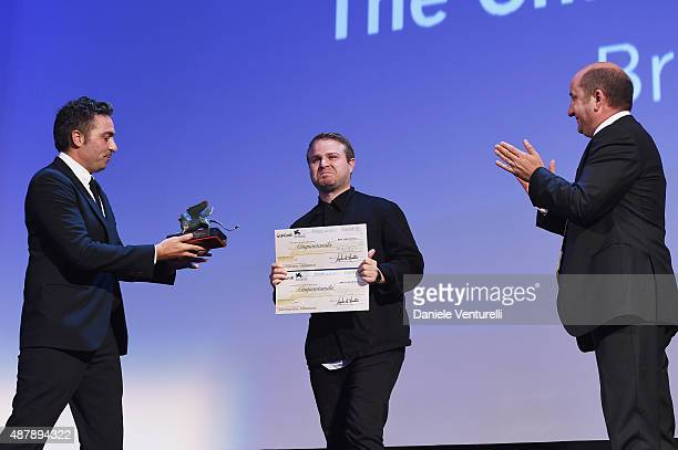 Brady Corbet with the Lion of the Future – 'Luigi De Laurentiis' Venice award for a Debut Film 'The Childhood of a Leader' at the closing ceremony...