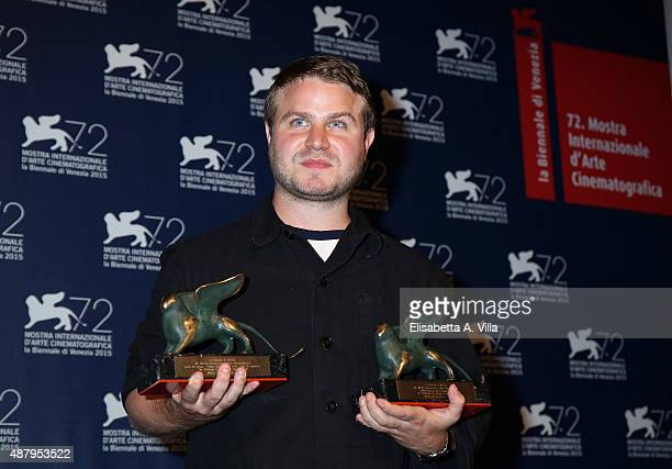 Brady Corbet with the Orizzonti Award for Best Director and the Lion of the Future 'Luigi De Laurentiis' Venice award for a Debut Film 'The Childhood...