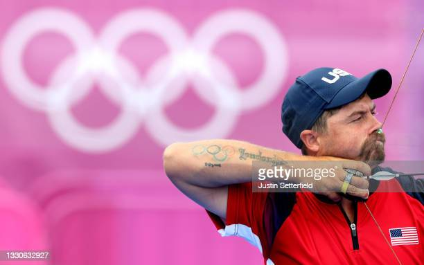 Brady Ellison of Team United States competes in the Men's Team 1/8 Eliminations on day three of the Tokyo 2020 Olympic Games at Yumenoshima Park...