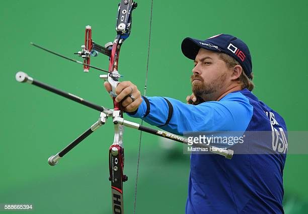 Brady Ellison of the United States competes in the Men's Individual round of 8 Elimination Round on Day 7 of the Rio 2016 Olympic Games at the...