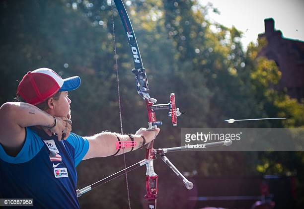 Brady Ellison of the USA shoots during the mens recurve finals at the Hyundai Archery World Cup Final 2016 on September 25 2016 in Odense Denmark