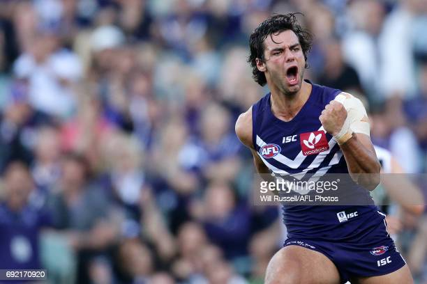 Brady Grey of the Dockers celebrates after scoring a goal during the round 11 AFL match between the Fremantle Dockers and the Collingwood Magpies at...