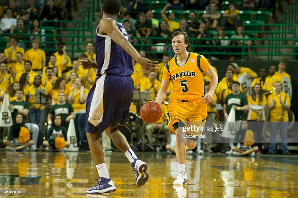 Brady Heslip #5 of the Baylor Bears brings the ball up court against the TCU Horned Frogs on January 11, 2014 at the Ferrell Center in Waco, Texas.