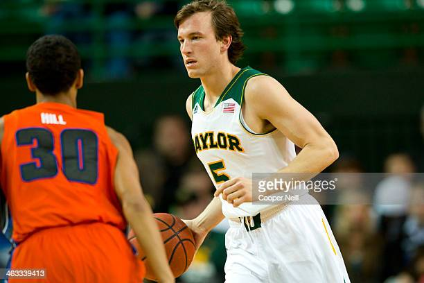 Brady Heslip of the Baylor Bears brings the ball up court against the Savannah State Tigers on January 3 2014 at the Ferrell Center in Waco Texas
