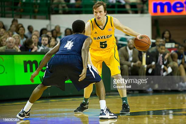 Brady Heslip of the Baylor University Bears brings the ball up the court against the Jackson State University Tigers on November 11 2012 at the...