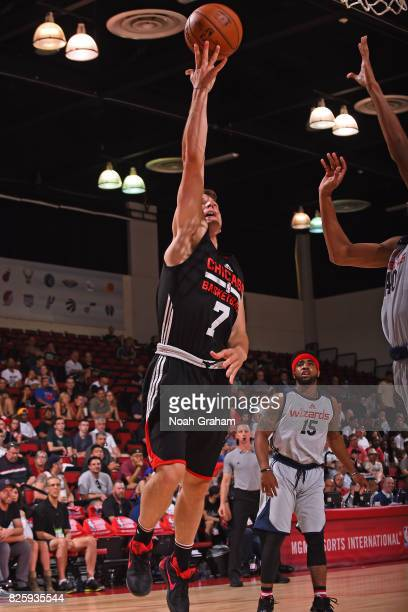 Brady Heslip of the Chicago Bulls drives to the basket during the 2017 Las Vegas Summer League game against the Washington Wizards on July 11 2017 at...