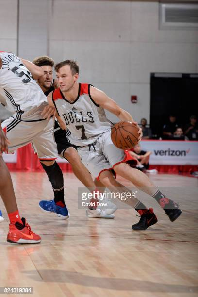 Brady Heslip of the Chicago Bulls handles the ball during the game against the Atlanta Hawks during the 2017 Las Vegas Summer League on July 10 2017...