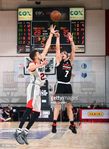 Brady Heslip of the Chicago Bulls passes the ball against the Portland Trail Blazers during the 2017 Summer League on July 12 2017 at Cox Pavillion...