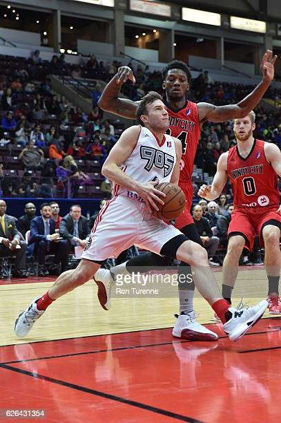 Brady Heslip of the Raptors 905 goes up to shoot on the Windy City Bulls during the game on November 23 at the Hershey Centre in Mississauga Ontario...