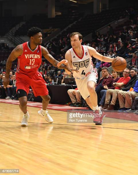 Brady Heslip of the Raptors 905 handles the ball against Julien Lewis of the Rio Grande Valley Vipers at the Hershey Centre on April 25 2017 in...