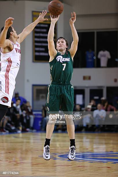 Brady Heslip of the Reno Bighorns shoots a shot against the Grande Valley Vipers during the NBA DLeague Showcase game on January 18 2015 at Kaiser...