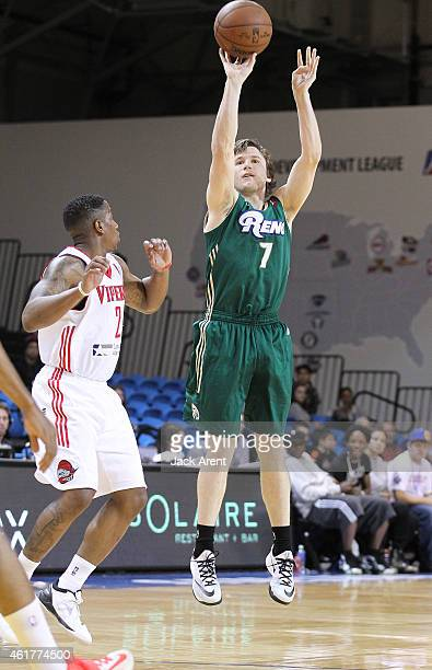 Brady Heslip of the Reno Bighorns shoots the ball against the Rio Grande Valley Vipers during the 2015 NBA DLeague Showcase presented by SAMSUNG on...