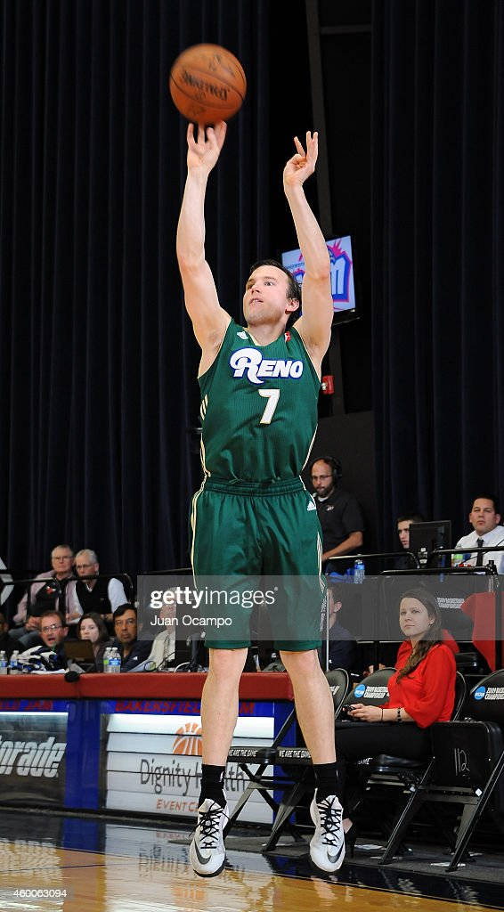 Brady Heslip #7 of the Reno Bighorns shoots the jumper against the Bakersfield Jam during a D-League game on December 5, 2014 at Dignity Health Event Center in Bakersfield, California.