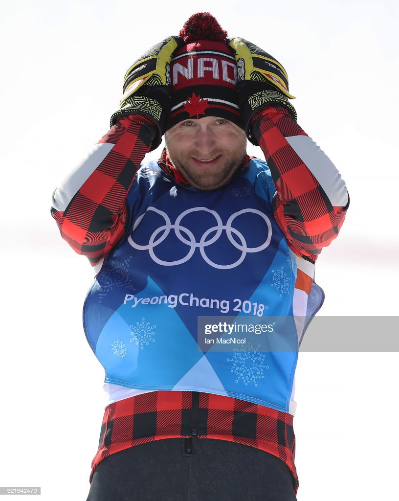 Brady Leman of Canada celebrates after winning the Men's Ski Cross Final at Phoenix Snow Park on February 21, 2018 in Pyeongchang-gun, South Korea.