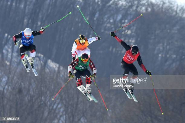 Brady Leman of Canada Marc Bischofberger of Switzerland Alex Fiva of Switzerland and Adam Kappacher of Austria compete in the Freestyle Skiing Men's...