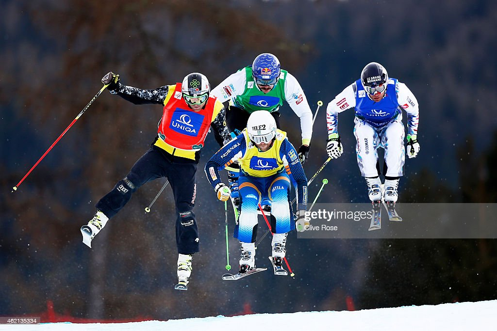 Brady Leman of Canada, Michael Forslund of Sweden, Filip Flisar of Slovenia and Bastien Midol of France compete in the Men's Ski Cross Finals during the FIS Freestyle Ski and Snowboard World Championships 2015 on January 25, 2015 in Kreischberg, Austria.
