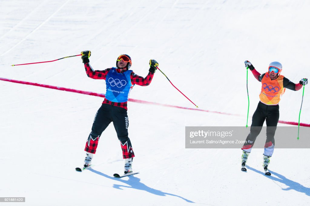 Brady Leman of Canada takes 1st place, Bischo takes 2nd place during the Freestyle Skiing Men's Finals Ski Cross at Pheonix Snow Park on February 21, 2018 in Pyeongchang-gun, South Korea.