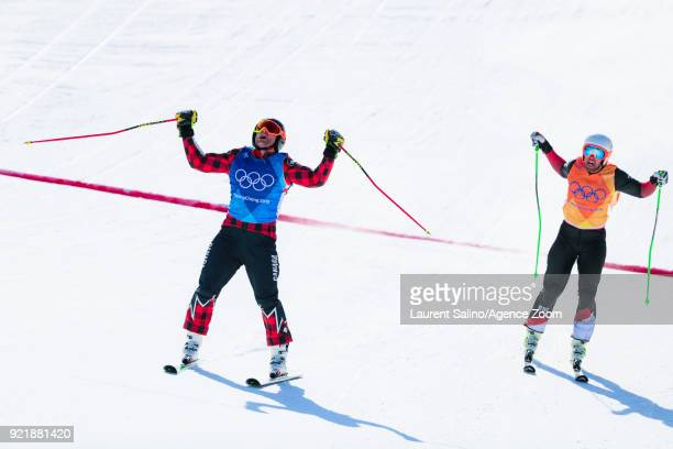 Brady Leman of Canada takes 1st place Bischo takes 2nd place during the Freestyle Skiing Men's Finals Ski Cross at Pheonix Snow Park on February 21...