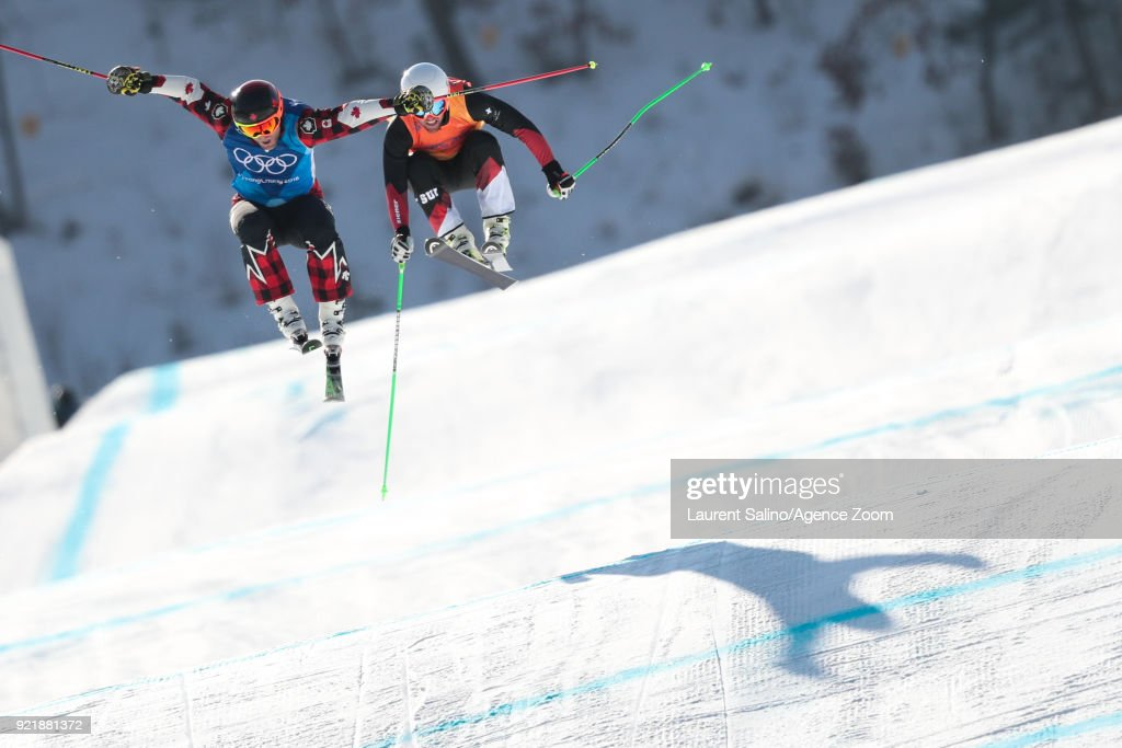 Brady Leman of Canada takes 1st place, Marc Bischofberger of Switzerland takes 2nd place during the Freestyle Skiing Men's Finals Ski Cross at Pheonix Snow Park on February 21, 2018 in Pyeongchang-gun, South Korea.